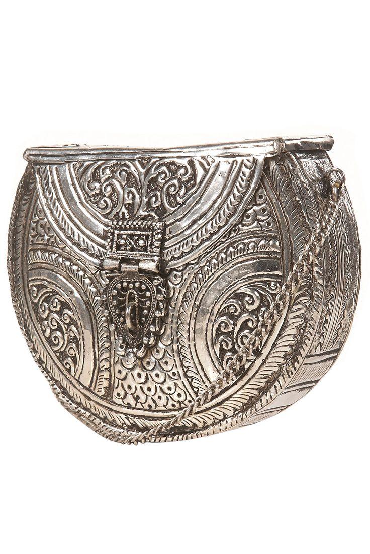 Ornate metal bag