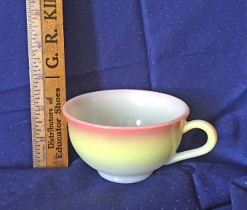 Hazel Atlas Coffee Tea Cup Milk Glass Mug Sunrise Ombré Yellow Pink #Vintage