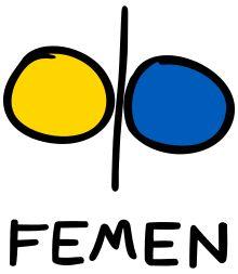 Femen Logo: simboliza tanto los dos colores de la bandera de Ucrania como unos pechos de mujer. Este movimiento pretende, con sus protestas, recabar el respeto por la mujer para lo cual lucha contra instituciones religiosas, el turismo sexual, el sexismo... Na que ver sus pechos desnudos con ninguna forma de erotismo, al que combaten.