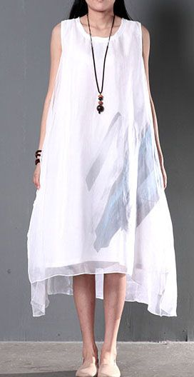 2016 Original design white flown layered sundress linen dress cotton summer clothing