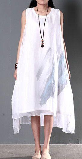 2016 Original design white flown layered sundress linen dress cotton summer clothing