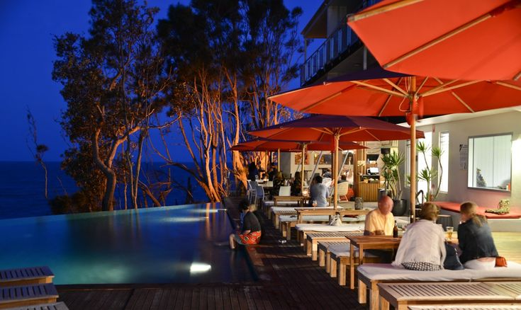 The stunning Bannisters Resort at night, complete with Made in the Shade umbrellas.