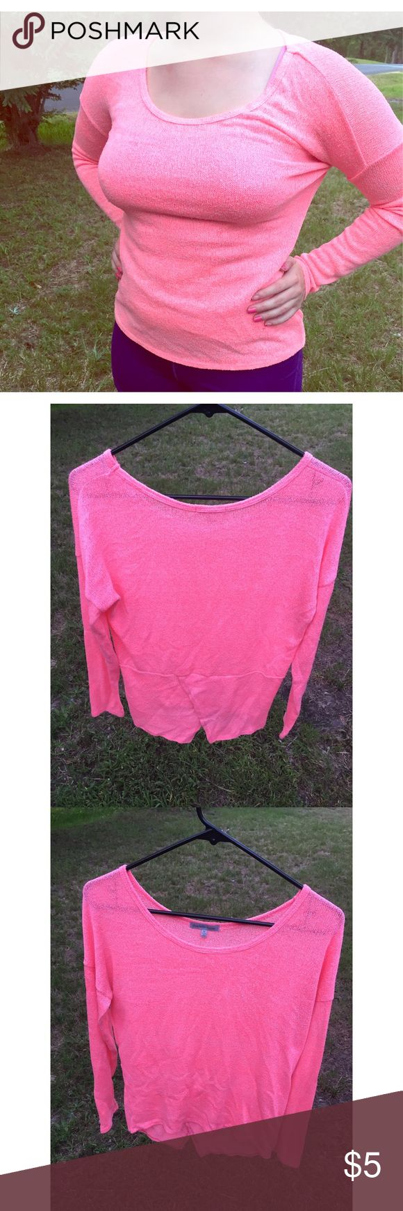 Charlotte Russe pink knit top  Cute knit split-bottom-back top by Charlotte Ruuse, also perfect for the colder season with a cardigan, skinnies, and some riding boots! Price is always negotiable and I am always open to offers! Size tag is pictured.  Charlotte Russe Tops Blouses