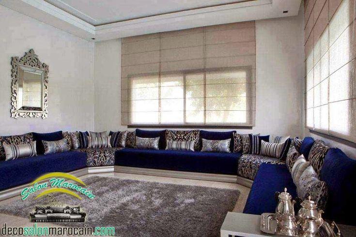 Déco inTérieur BLeu et argent   Salon marocain bleu argenté haute gamme   Decoration marocaine