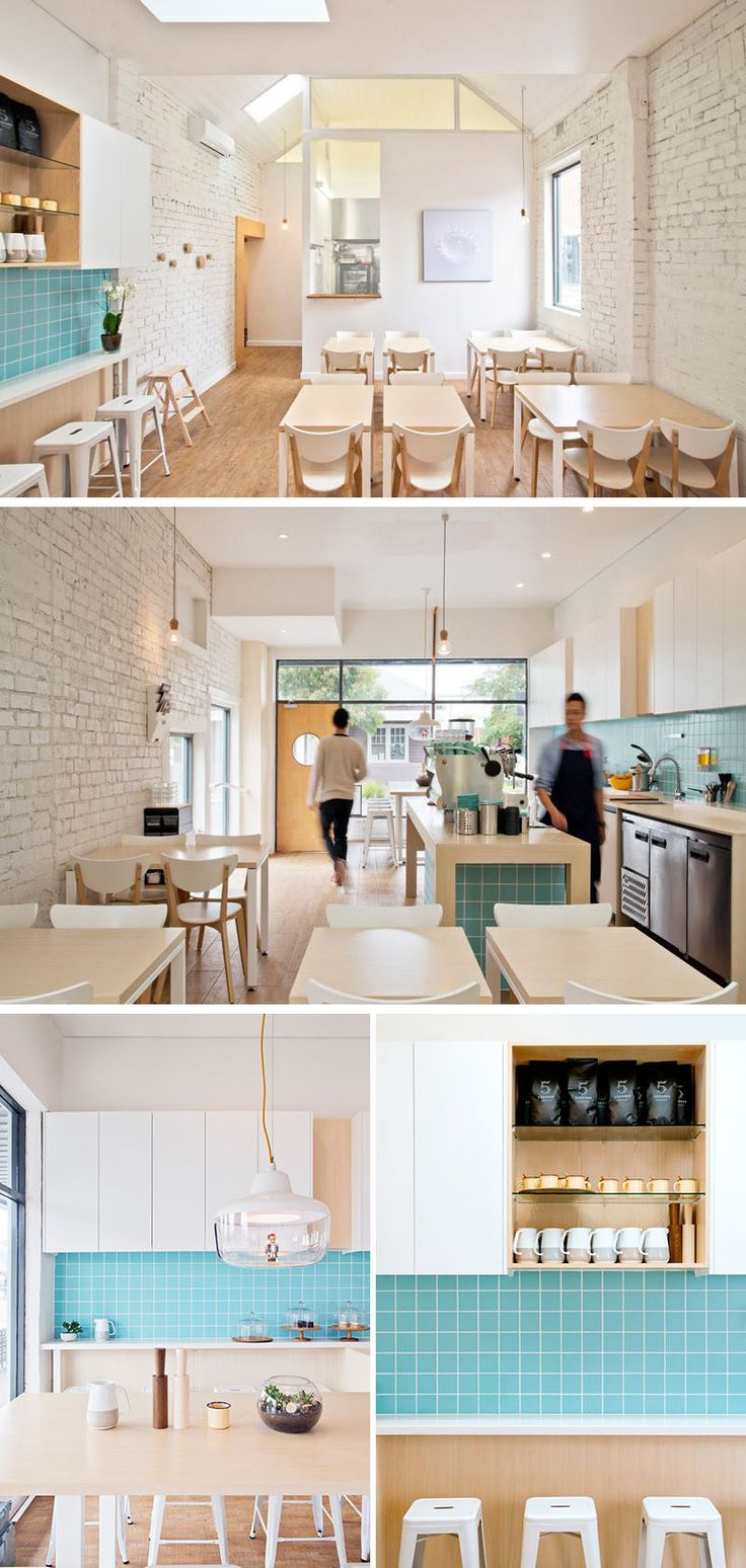 This small modern coffee shop features white painted bricks, light wood furniture, and turquoise tile behind the service bar.