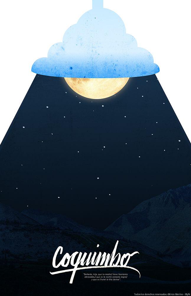 """Afiche / Poster Coquimbo, Chile """"Soñarás, hijo, que tu madre/ tiene facciones abrasadas,/ que es la noche canasto negro/  y que es frutal la Vía Láctea''."""