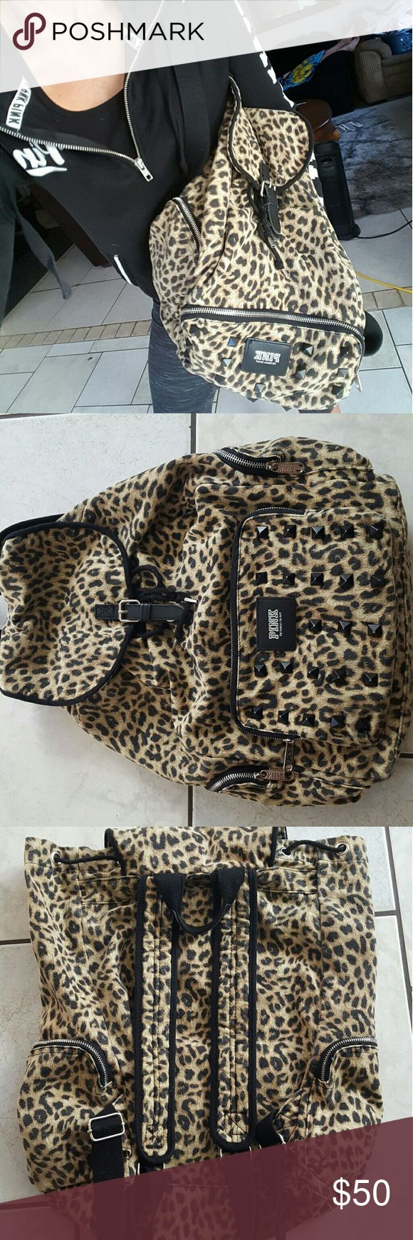 LN, VS Pink cheetah backpack Like new vs pink cheetah backpack with tons of room inside has a pull string underneath a clip. Has pockets on both outsides. Is studded with logo on front. Large backpack. pink Bags Backpacks