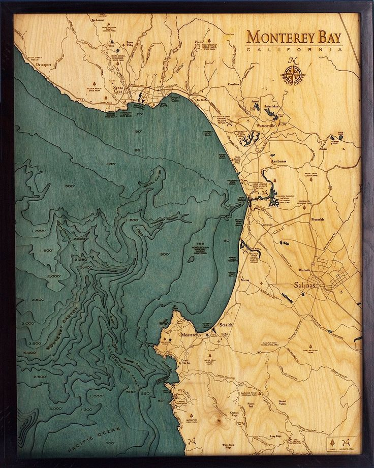 San Jose Monterey Map%0A Monterey Bay  California Wood Map