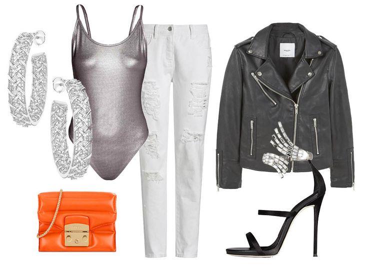 1. Серьги, Dior 2. Сумка, Furla 3. Боди, H&M 4. Куртка, Mango 5. Босоножки, Giuseppe Zanotti Party
