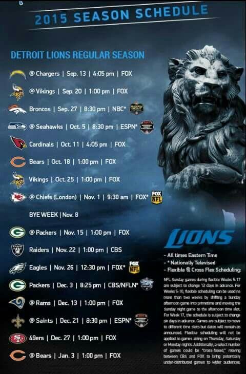 2015 Lions schedule