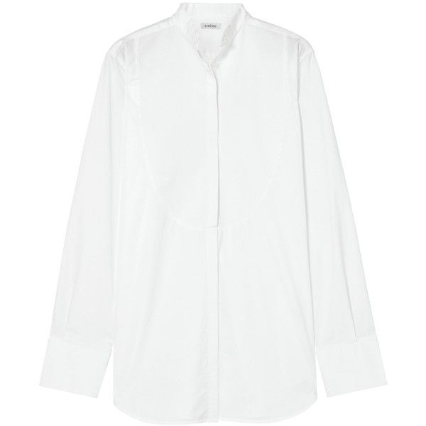 Totême Palencia piqué-paneled cotton-poplin shirt (1,030 PEN) ❤ liked on Polyvore featuring tops, white, tailored shirts, cotton poplin shirt, shirt top, oversized tops and sleeve top