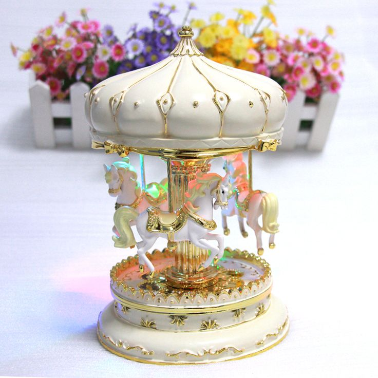 Carousel Music Boxes Horse With Castle in the Sky Pink Silver Plated Colorful…