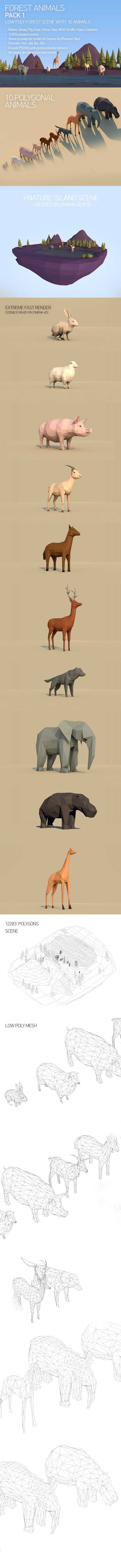 Low Poly Forest Animals Pack 1 3D Models Design Template #cinema4d #3D #3dDesign Download here: https://3docean.net/item/low-poly-forest-animals-pack-1/15083207?ref=yinkira