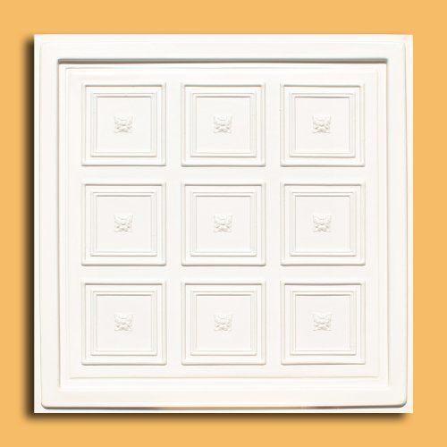 "Rococo Antique White (24x24"" Pvc) Ceiling Tile by Antique Ceilings. $6.65. Easy to cut. Can be painted with most any water or latex based paints. High quality PVC matterial. Tin like look from a modern material. Universal Installation - Drop in Grid system, Glue-on, Nail-on. PVC ceiling tiles come in 24""x24"" size. Feather-light, easy to install, easy to clean, stain resistant, water resistant, dust free, and easy to cut. They can be cut with any house hold scissors...."