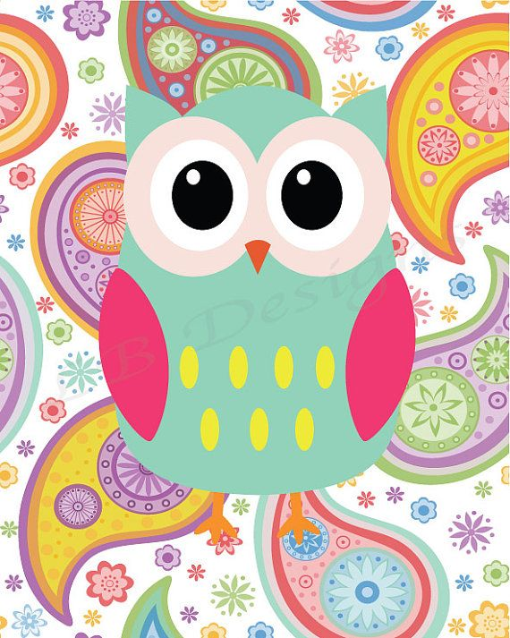 Aqua and Pink Girl's Owl Nursery Print, Girl's Woodland Nursery Decor, Girl Nursery Decor - 8x10