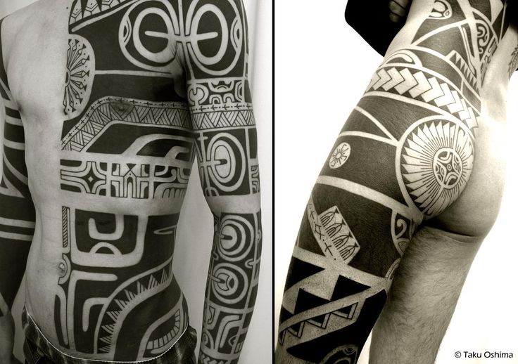 Polynesian hybrid tattoo with core Marquesan design elements and more neo-Marquesan blackwork