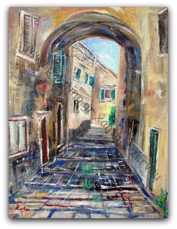 CityscapeCorfu old town Original by ORIGINALsPAINTINGS on Etsy, €405.00