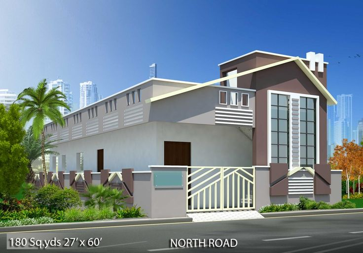 180 Sq Yds 27x60 Sq Ft North Face House 2bhk Elevation