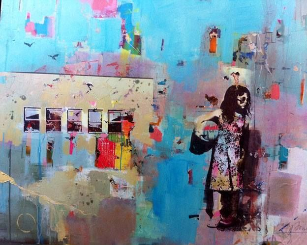 Dan Parry-Jones, Girl With Ball, acrylic and collage on board, 2014