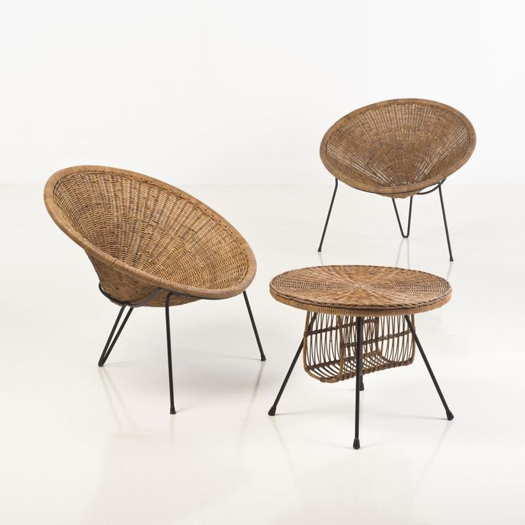 Roberto Mango; Wicker And Steel Lounge Chair, 1950s.