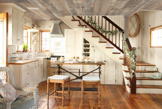 farmhouse kitchen - love the stairs