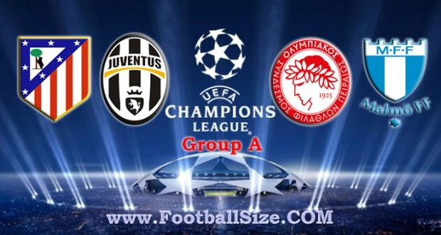 UEFA Champions League Group A : Atletico Madrid, Juventus, Olympiakos and Malmo FF