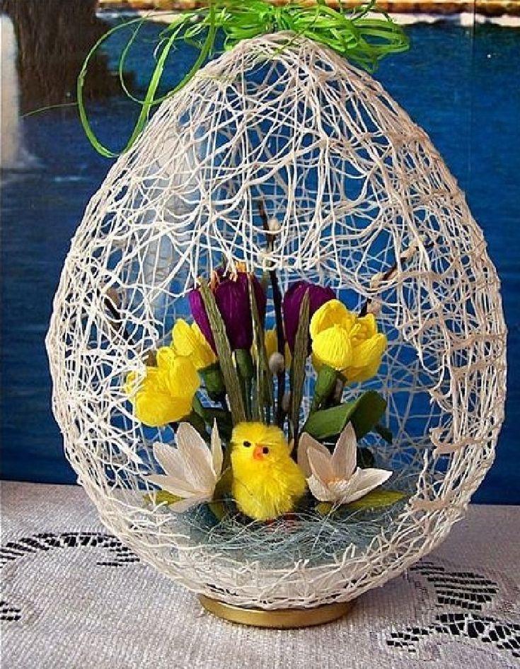яйцо-гнездо из ниток
