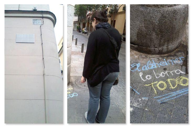 Acción guerrilla : Comunicar que el Alzheimer lo borra todo. Material: Azulejos blancos 15x15. Lugar: Calles de Madrid. Realizado con Oscar Arroyo y Cesar G.
