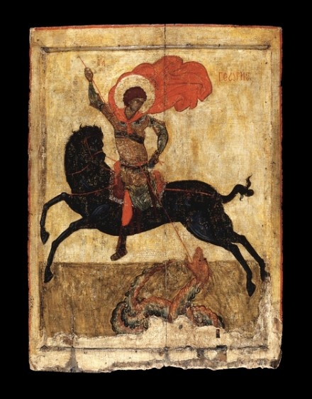 St. George icon found in 1959 in Northern Russia, being used to shutter a barn window