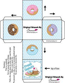 Free Printable Donuts Box Favor Box Fimo Pinterest
