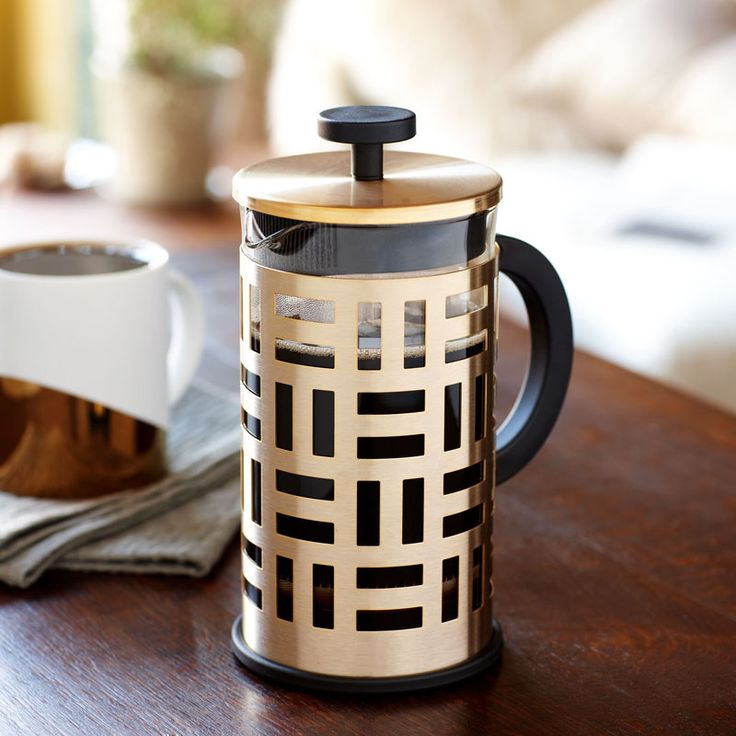 17 Contemporary Coffee Maker Designs That You'll Want To Show Off | This metallic and geometric coffee press adds a sophisticated look to your coffee and turns making coffee into an elegant part of the day.