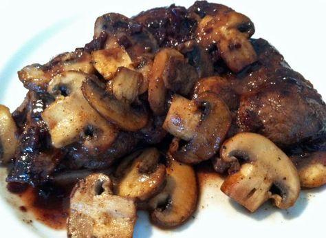 Mmmmmmm making them tonight :) Pan-Sauteed Moose Sirloin Steaks with Mushrooms and Red Wine