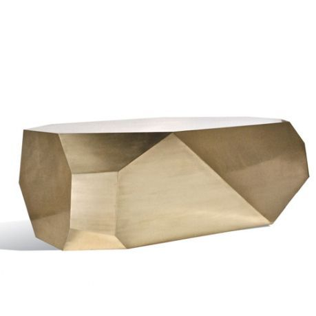 """Gemstone cut sttyle coffee table cladded with brush-polished brass.  Finish on photo: Brush polished brass  Option: Protective Crystal Coating: A special """"Crystal Coating"""" which will prevent fingerprints and corrosion on brass can be applied at a 20% upcharge.  Size: W 40 x D 30 x H 17 inches"""