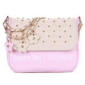 New Women's Contrast Color PU Leather Chain Tote Shoulder Bag Handbags free ship wholesale S032