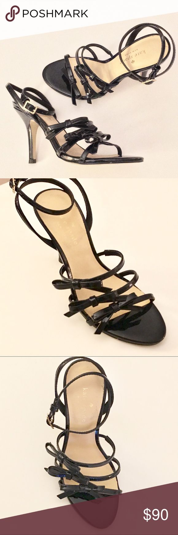 NWT Kate Spade Strappy Dress Sandals w/ Bows NWT. Never worn. Kate Spade Dress Sandals in Dark Navy Patent leather  Threes straps in front with bow on each strap Wrap ankle strap Heel approx. 3 3/4 inches Size 5 1/2M kate spade Shoes Heels