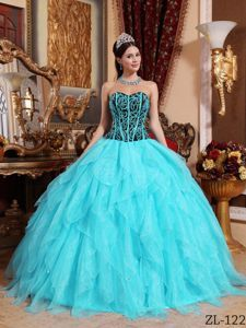 Aqua Blue Ruffled Quinceanera Party Dresses with Embroidery