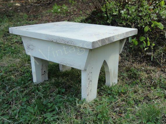 Handmade Painted Wooden Bench / Primitive Bench / by AVintageWren