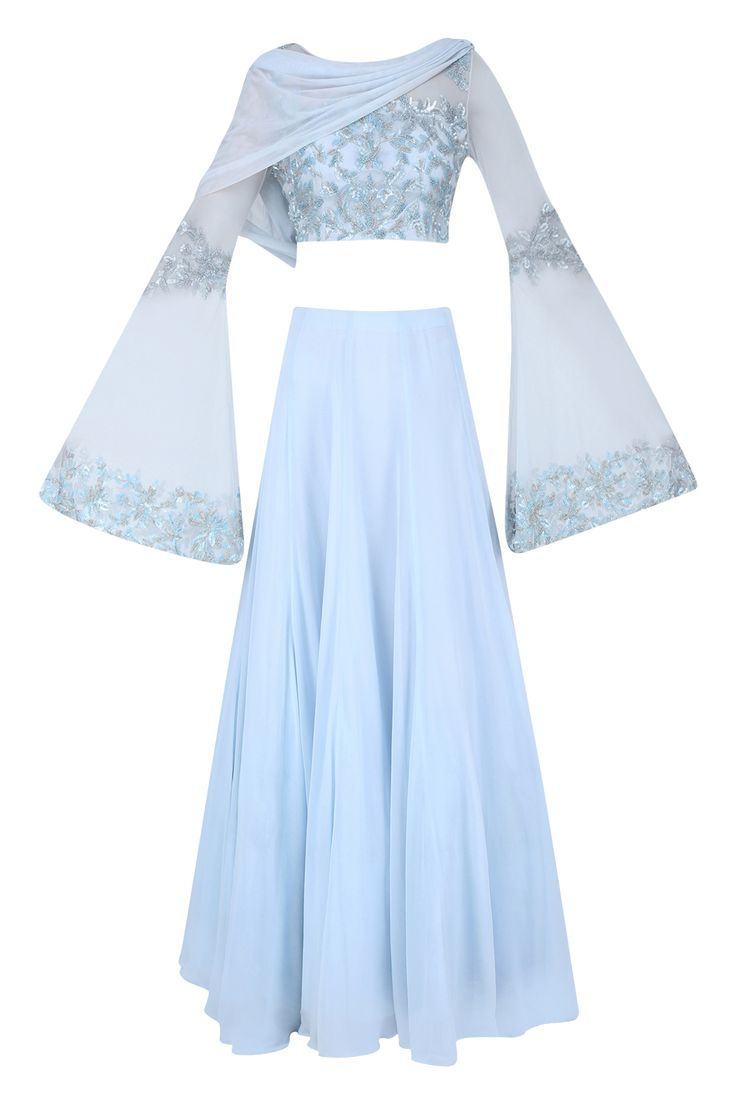 Ice blue floral embroidered lehenga set available only at Pernia's Pop Up Shop.