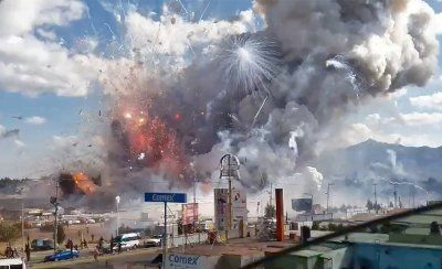 Disasters in 2016: Photos of devastation wrought by earthquakes, floods, fires and hurricanes:       A massive explosion destroys Mexico's biggest fireworks market in Tultepec, on 20 December 2016. The blast killed at least 31 people and injured 72, authorities confirmed. The conflagration in the Mexico City suburb of Tultepec set off a quick-fire series of multicolored blasts that sent vast clouds of smoke billowing over the capitalJose Luis Tolentino/AFP