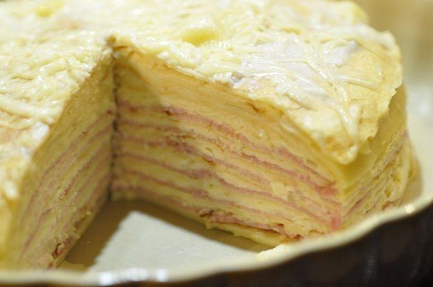 Gâteau de crêpes jambon fromage