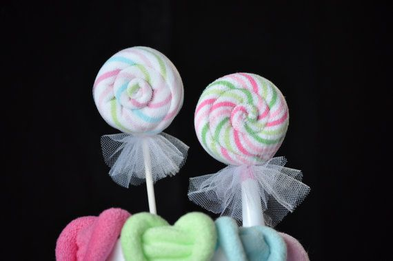 Washcloth Lollipops set of 5 Cupcakes and by TopsyTurvyDiaperCake