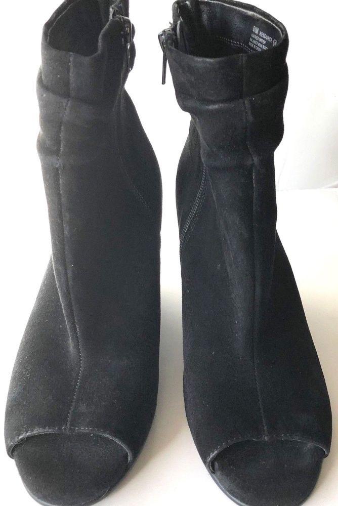 9715544e367 Aerosols Resource Boot Peep Toe Wedge Women's Suede Black Size 6.5M ...