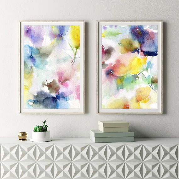 Floral painting for print. Watercolor Print Set with abstract flowers.