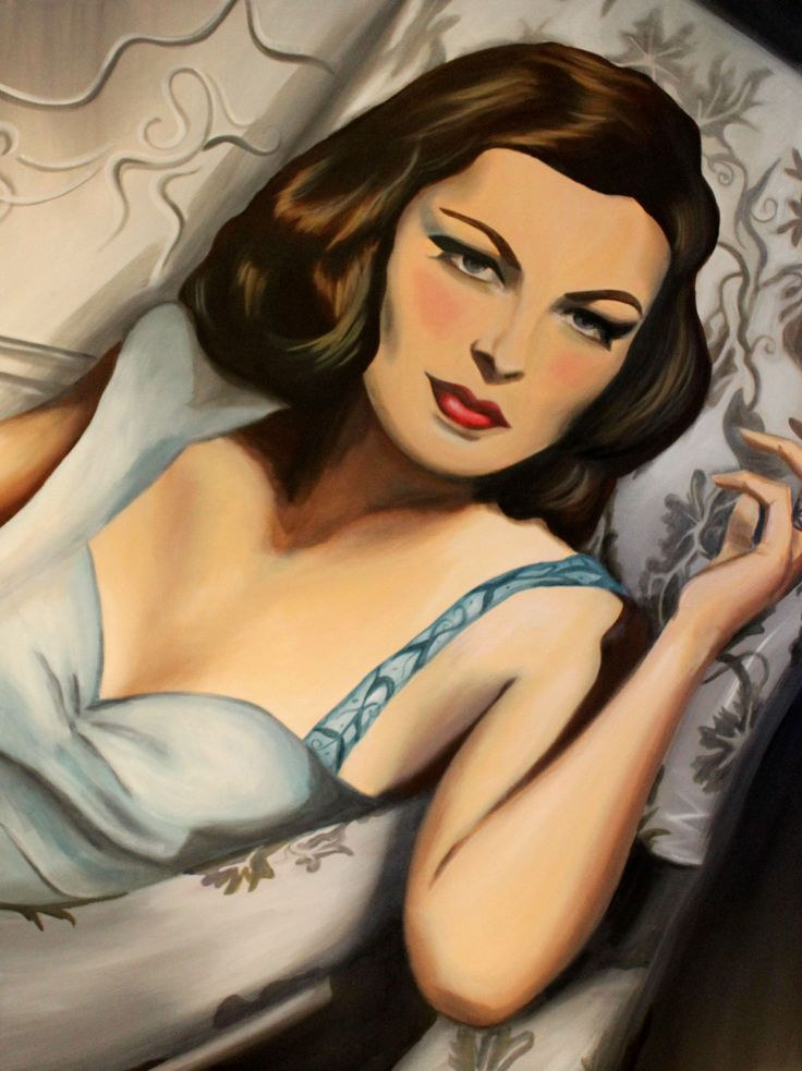 Gene Tierney, a beautiful hoywood actress long ago. This painting is in the style of Art Deco and Cubist. visit my website for more to see.