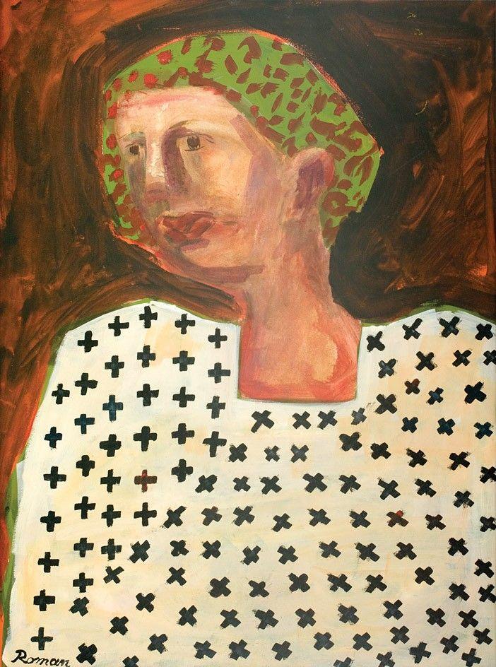 Mircea Roman, Portret - acuarelă și guașă pe hârtie, 63 × 48 cm, semnat dreapta jos cu negru Roman
