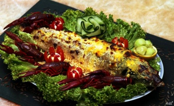 Sturgeon, baked in the oven