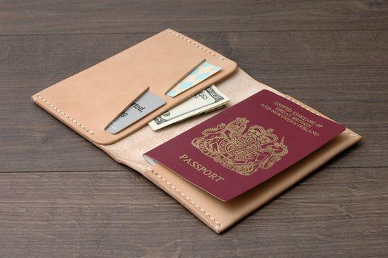 Leather Passport Cover / Passport Wallet / Passport by khadesign: