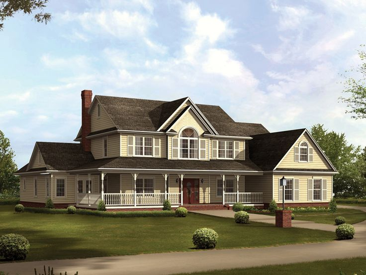 Country Style Two-Story Home Sweeping Covered Porch  kind of nice floorplan
