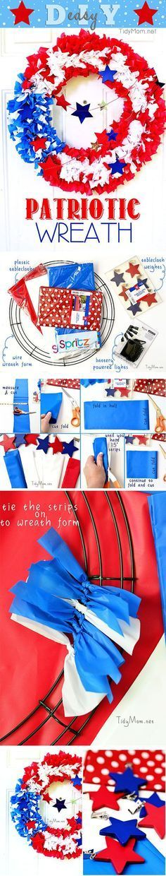 By using plastic tablecloths you can make your own outdoor patriotic flag wreath! get the full tutorial at TidyMom.net