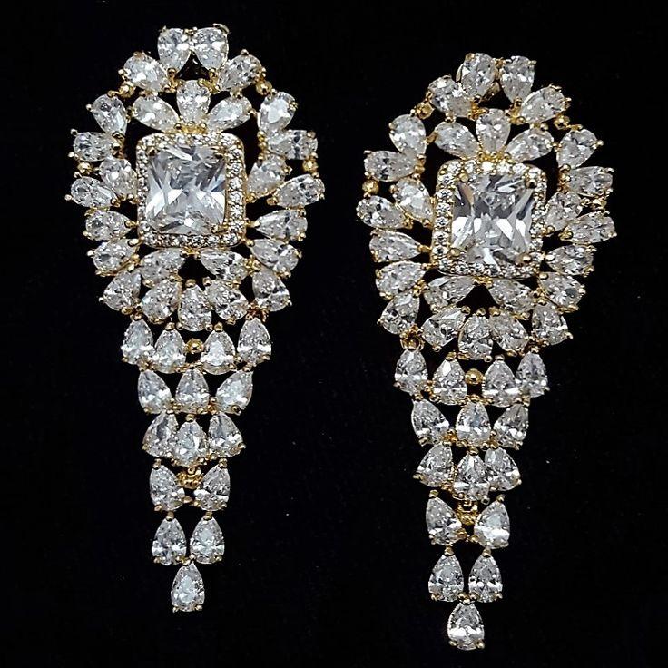 Big Diamond Gold Plated Teardrop Beautiful Earring